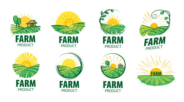 Sign with the image of the field for farms. Vector illustration Sign with the image of the field for farms. Vector illustration. organic farm stock illustrations