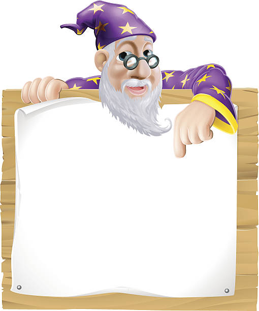 sign wizard - old man long beard silhouettes stock illustrations, clip art, cartoons, & icons
