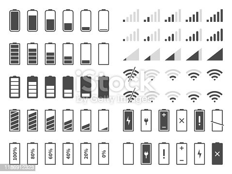 Signal and battery icons. Network signal strength and telephone charge level. Battery status, wifi internet wireless loading vector system power timely completion sign set
