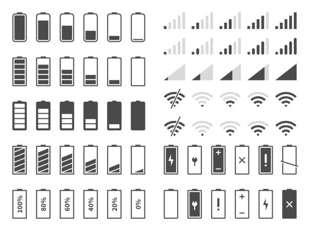 stockillustraties, clipart, cartoons en iconen met signaal-en batterij pictogrammen. netwerksignaal sterkte en telefoon laadniveau. batterijstatus, wifi internet draadloze laad vector set - bar tapkast