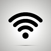 WIFI signal silhouette, simple black icon with shadow