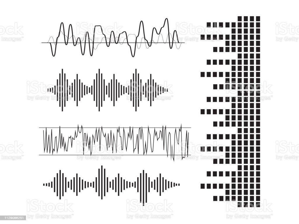 Signal Wave Set Analog Signals Digital Sound Waves Stock