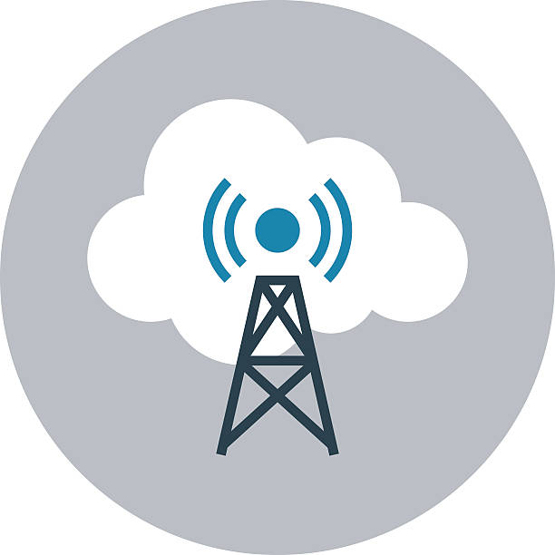 Signals Tower Colored Vector Illustration Cloud computing flat colored icon. repeater tower stock illustrations