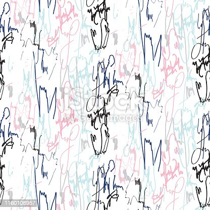 Signature ink marks seamless vector pattern light pastel colors. Graffiti style paint flourishes in cold blue colors.