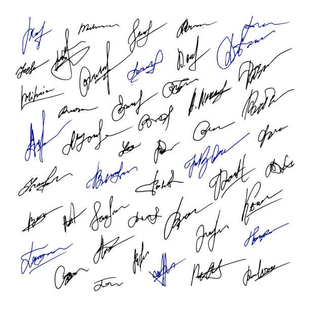 signatur-set von business-illustration. vektor handgezeichnete illustration - unterschrift stock-grafiken, -clipart, -cartoons und -symbole