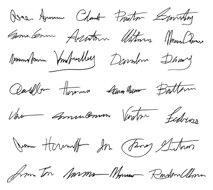 Vector illustration of a set of fictitious signatures.