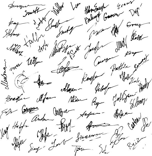 unterschriften set. abstrakt business autograph illustration. - unterschrift stock-grafiken, -clipart, -cartoons und -symbole