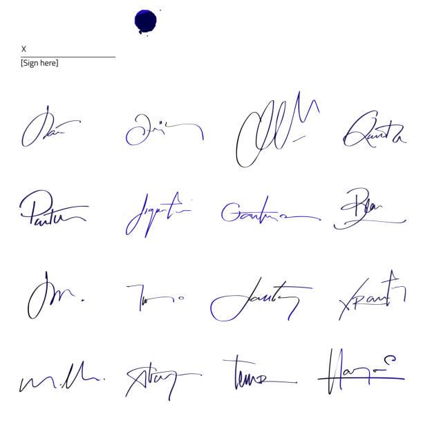unterschriften gesetzt - unterschrift stock-grafiken, -clipart, -cartoons und -symbole