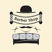 Signboard for a hairdresser and barbershop salons on a white background. Logo with hair salon accessories.