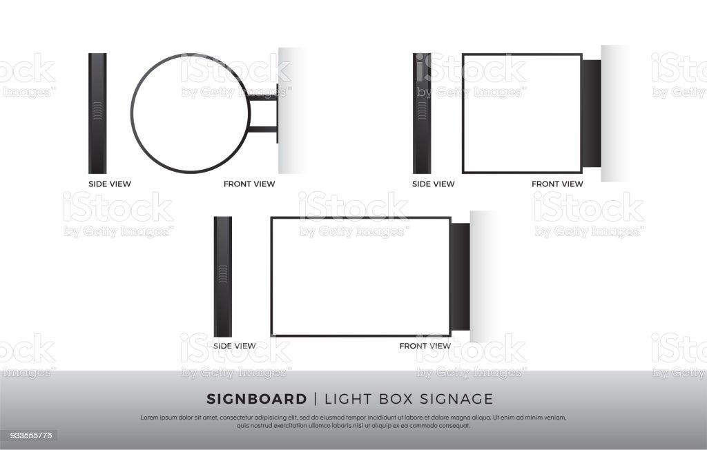 Signboard Blank Round Square Rectangle Lightbox Signage Mockup ...