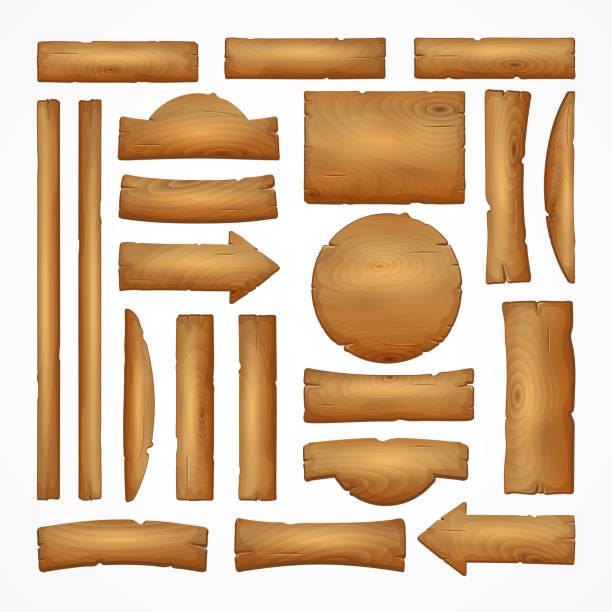 schild-erstellung festgelegt. bauen sie ihr eigenes design. holzbretter in verschiedenen formen und größen. - holzbrett stock-grafiken, -clipart, -cartoons und -symbole