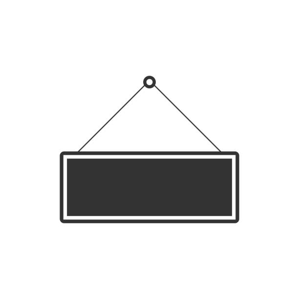 signboard icon isolated. hanging sign. flat design. vector illustration - wisieć stock illustrations