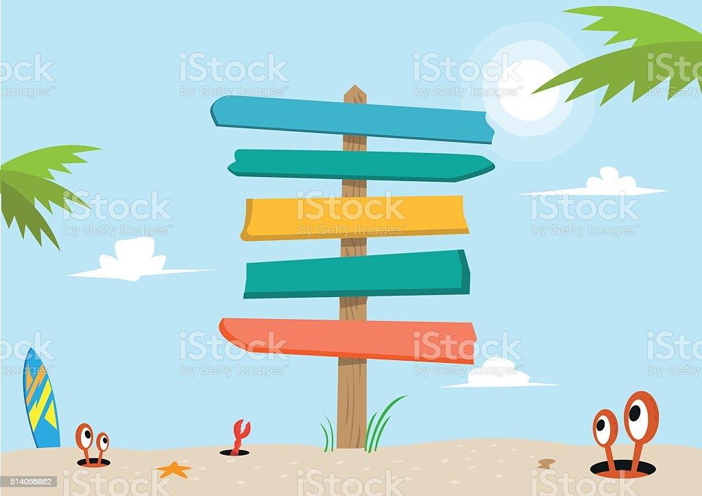 Signboard on a beach concept. Editable Clip Art. vector art illustration