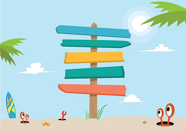 stockillustraties, clipart, cartoons en iconen met signboard on a beach concept. editable clip art. - wegwijzer bord