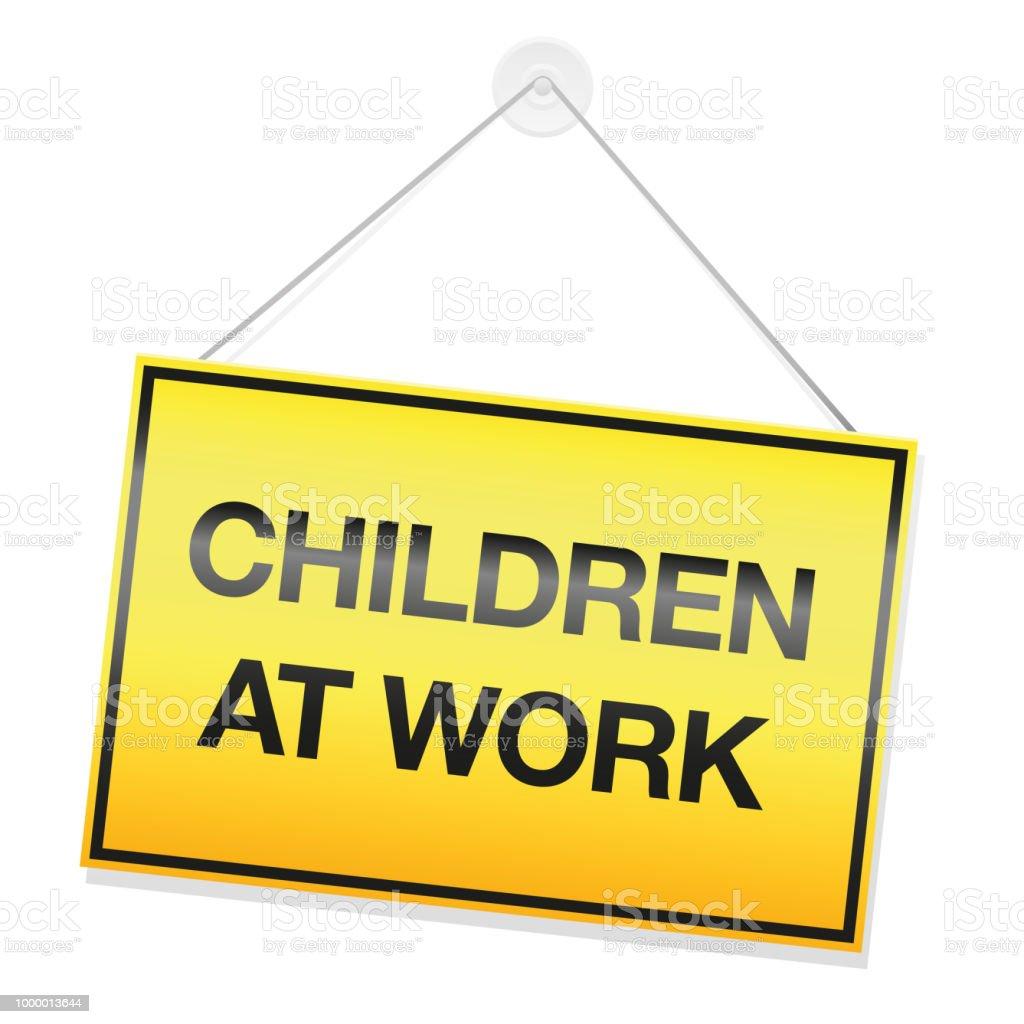 Children At Work Signboard Symbol For Children Doing Their Homework