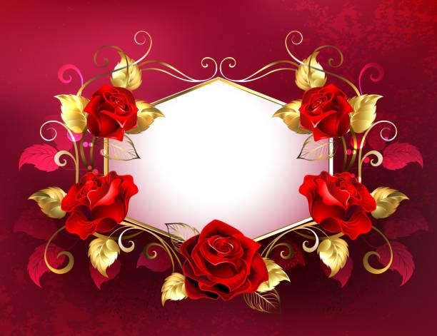schild mit roten rosen schmuck - hochzeitsanstecker stock-grafiken, -clipart, -cartoons und -symbole