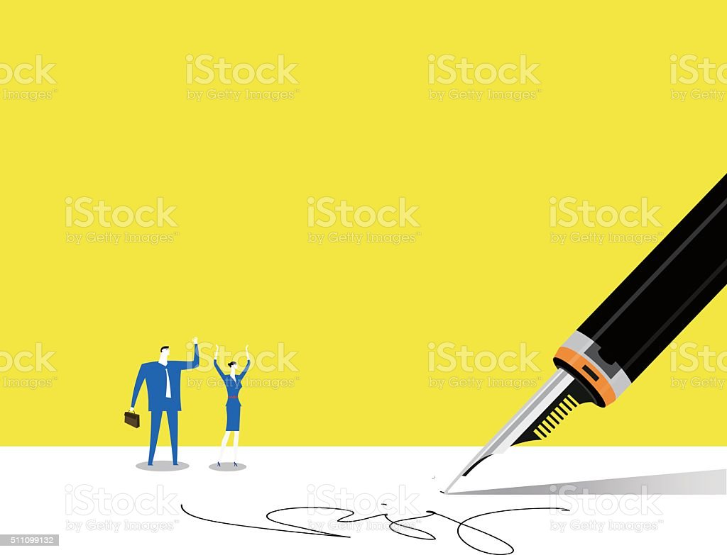 Signed a contract vector art illustration