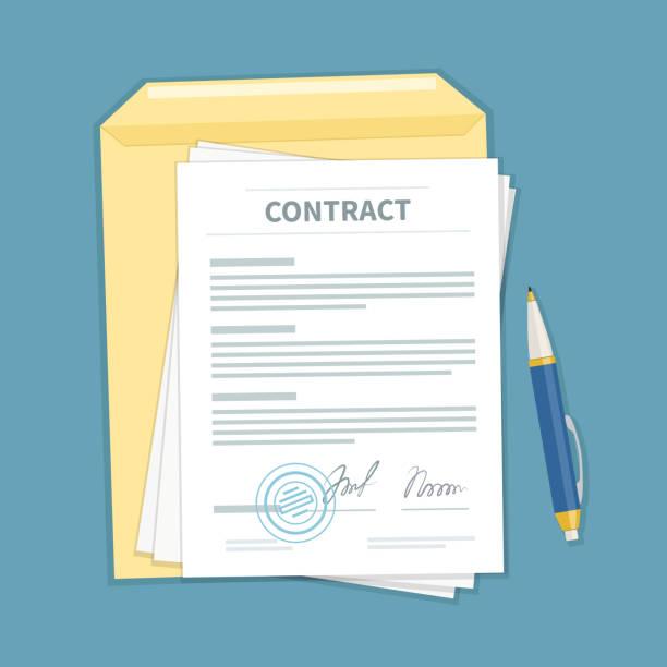 illustrations, cliparts, dessins animés et icônes de signé un contrat avec cachet, enveloppe, stylo. la forme du document. concept d'accord financier. - notaire