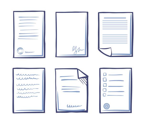 stockillustraties, clipart, cartoons en iconen met ondertekend contract met tekst en handtekening vector - snavel