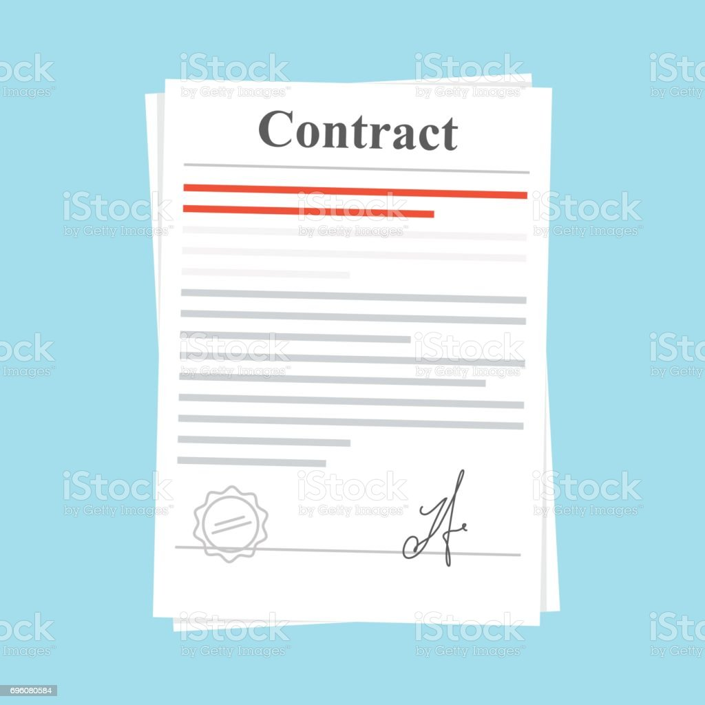 Signed paper deal contract icon agreement. Document with a stamp and a signature. Flat illustration isolated on blue background. vector art illustration