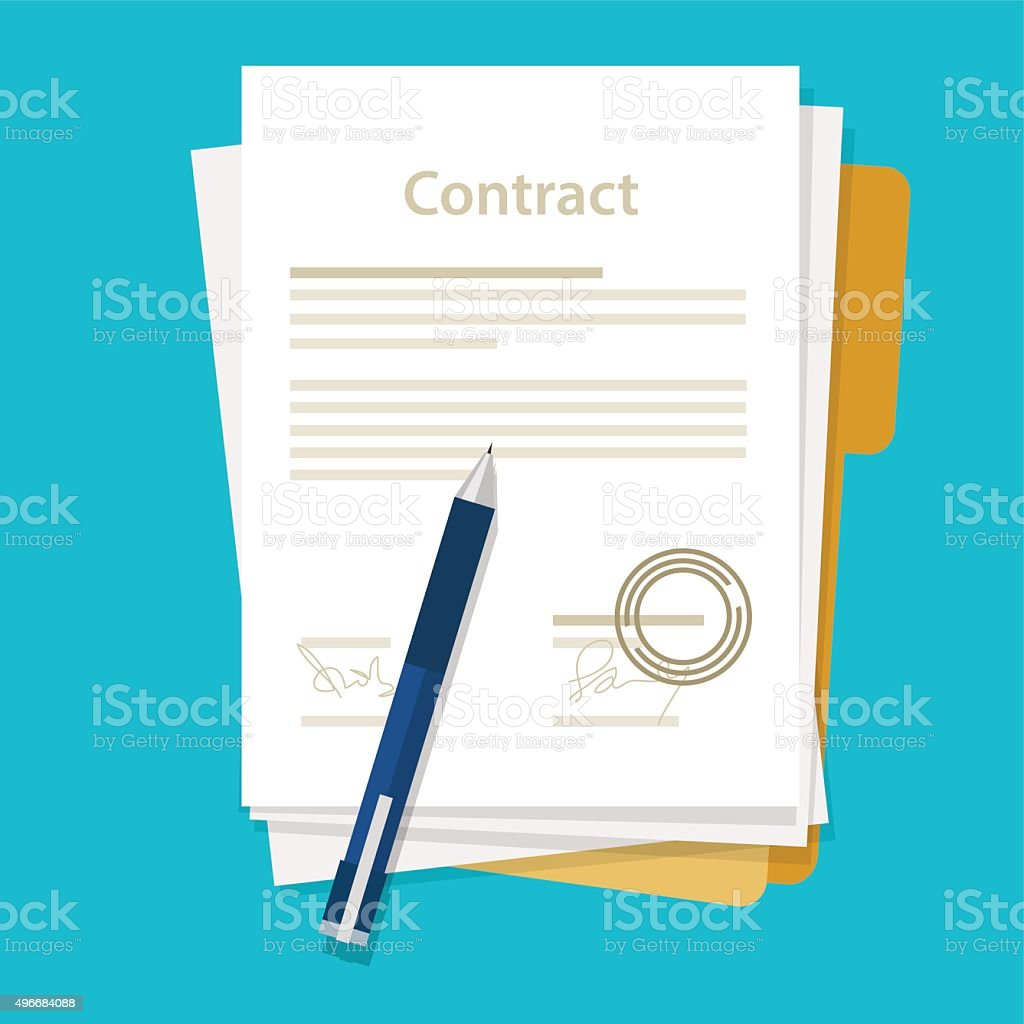 signed paper deal contract icon agreement  pen on desk  flat vector art illustration