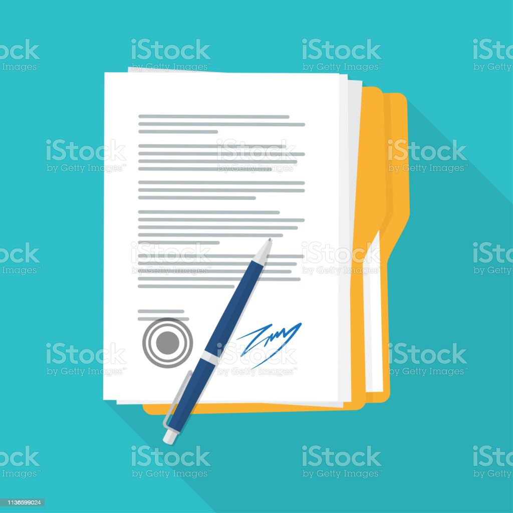 Signing of the contract and conditions document. Agreement and pen...