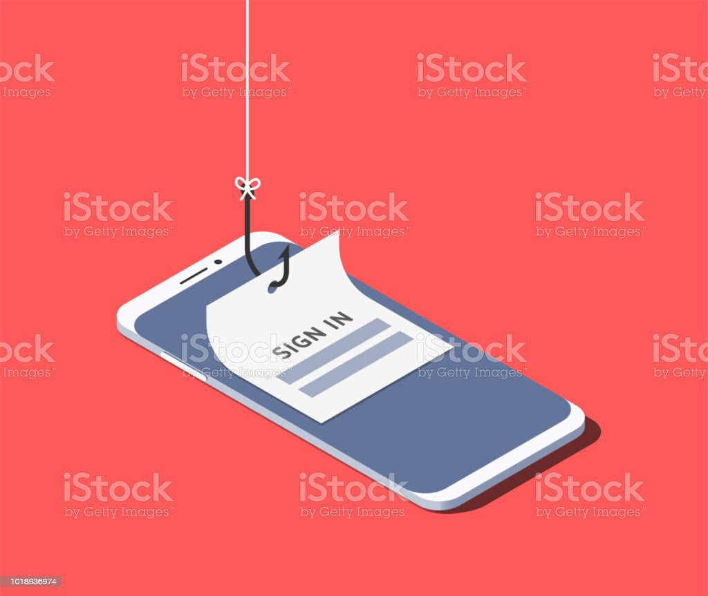Sign-in form on fishing hook on the screen of a smartphone. Scam and phishing concept. Vector isometric illustration - arte vettoriale royalty-free di Afferrare