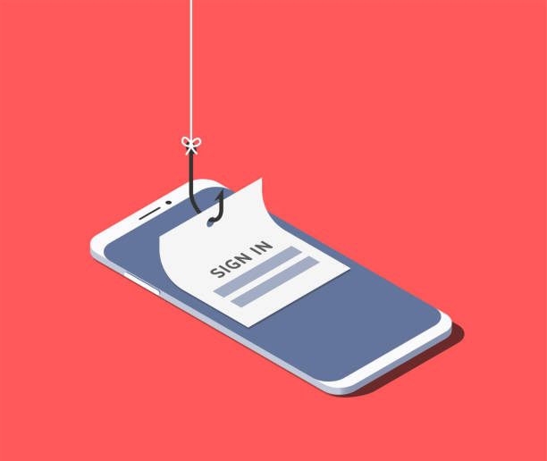 Sign-in form on fishing hook on the screen of a smartphone. Scam and phishing concept. Vector isometric illustration Sign-in form on fishing hook on the screen of a smartphone. Scam and phishing concept. Vector isometric illustration hacker stock illustrations