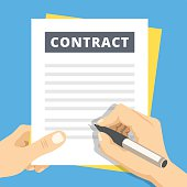 Signing a contract flat illustration. Hand with pen sign contract