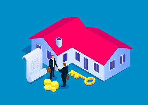 Signing a contract for house purchase, real estate transaction