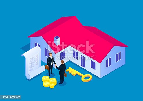 istock Signing a contract for house purchase, real estate transaction 1241459325