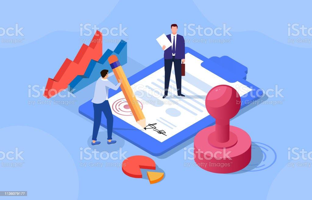 계약 체결, 2 명의 사업가 계약 체결 - 로열티 프리 개념 벡터 아트