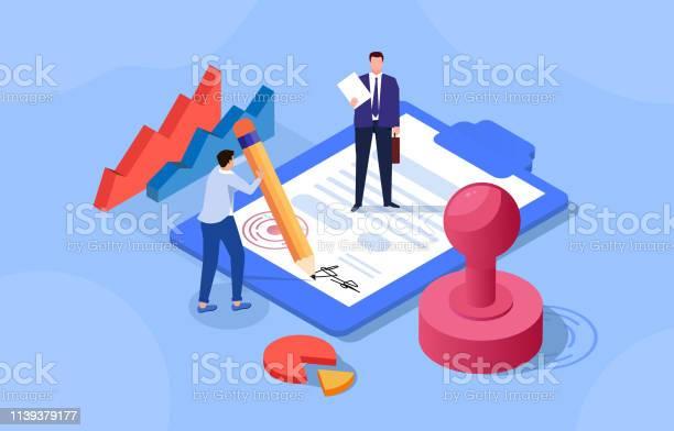 계약 체결 2 명의 사업가 계약 체결 개념에 대한 스톡 벡터 아트 및 기타 이미지