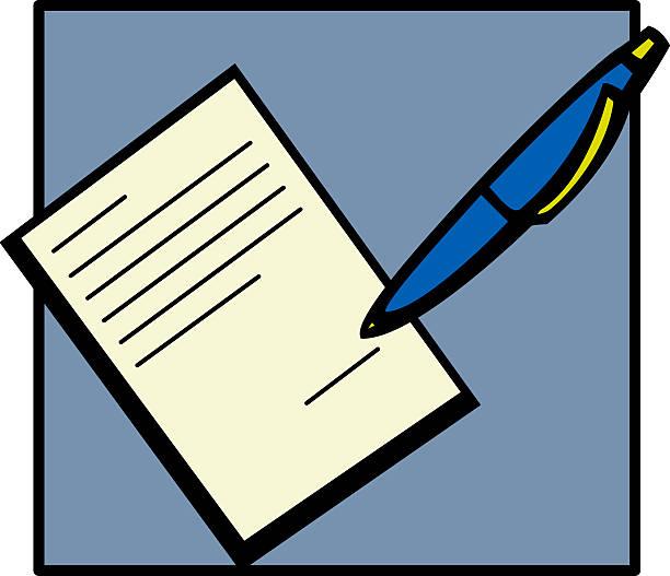 unterschreiben eines dokuments - rechtsassistent stock-grafiken, -clipart, -cartoons und -symbole