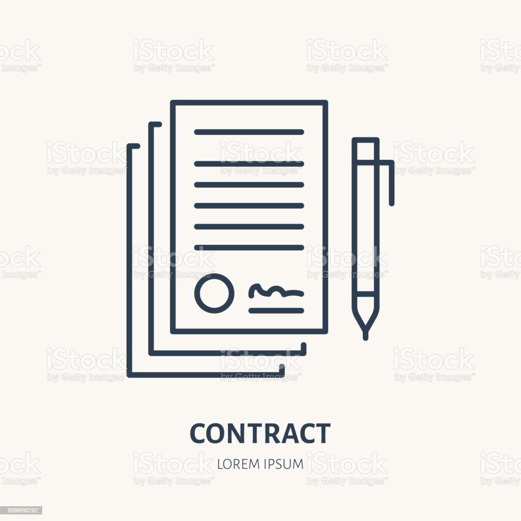 Unterzeichnung Der Vereinbarung Vertrag Vektor Flache Linie Icon ...