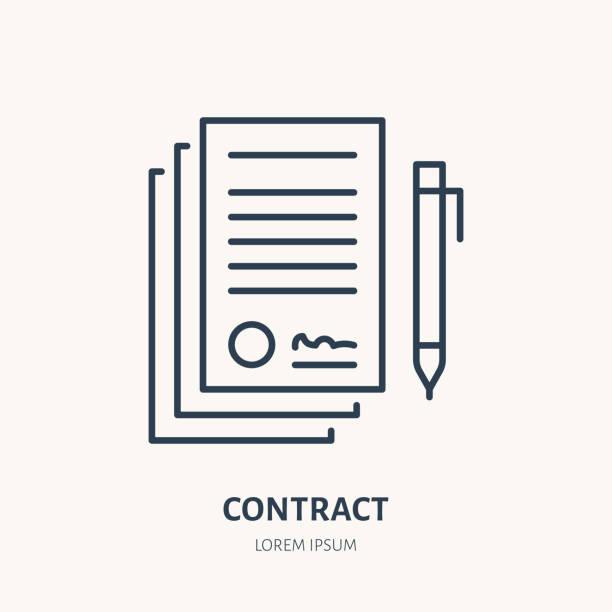 illustrations, cliparts, dessins animés et icônes de signature de convention, icône de contrat vecteur ligne plate. signe de document juridique - notaire