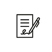 Signing business document icon