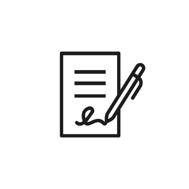 unterzeichnende unternehmen dokumentsymbol - unterschrift stock-grafiken, -clipart, -cartoons und -symbole