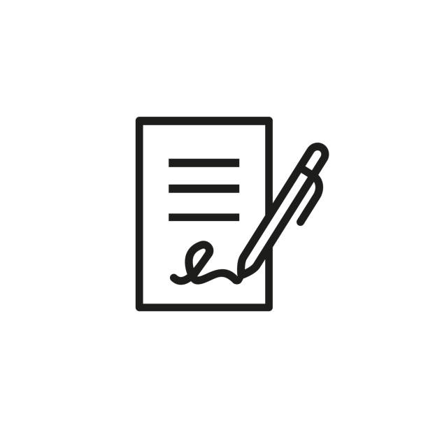 Signing business document icon Signing contract icon.  Report, letter, will. Deal concept. Can be used for topics like business, education, correspondence writing activity stock illustrations