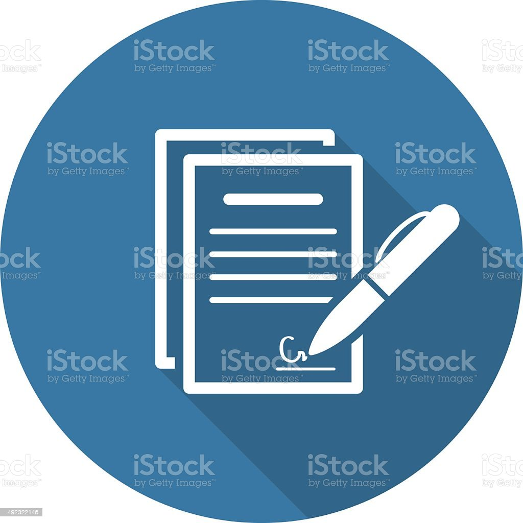 Signing Contract Icon. Business Concept. Flat Design. Royalty Free Signing  Contract Icon