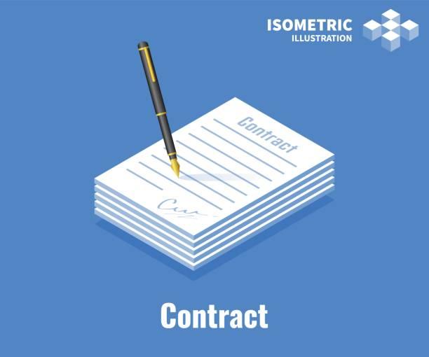 illustrations, cliparts, dessins animés et icônes de icône de contrat de signature. document papier avec signature et stylo. illustration vectorielle 3d isolée sur fond bleu. - notaire