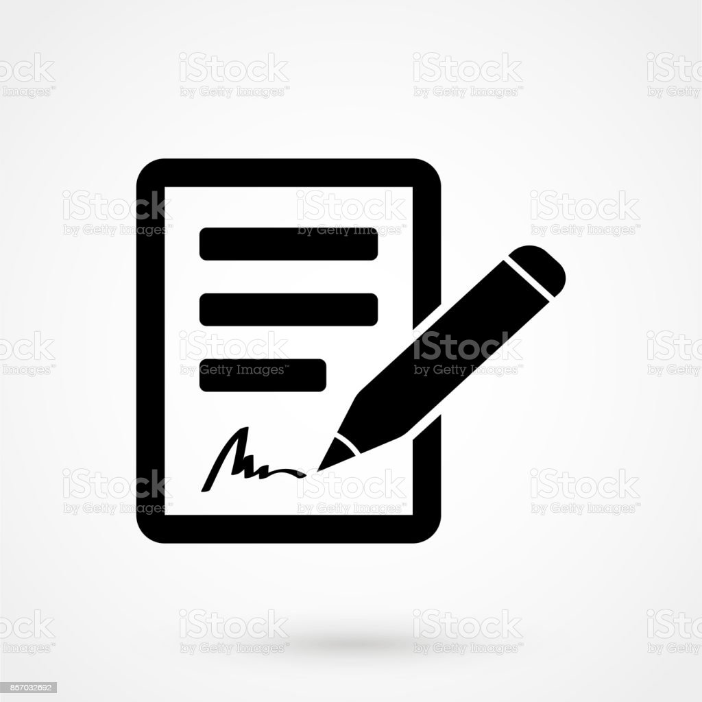 signing contract icon vector art illustration