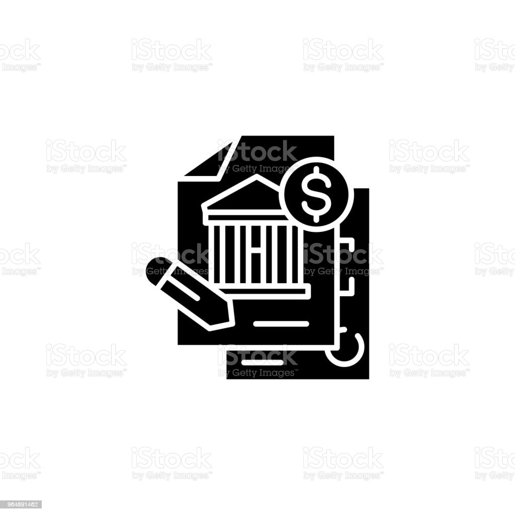 Signing financial documents black icon concept. Signing financial documents flat  vector symbol, sign, illustration. royalty-free signing financial documents black icon concept signing financial documents flat vector symbol sign illustration stock vector art & more images of no people