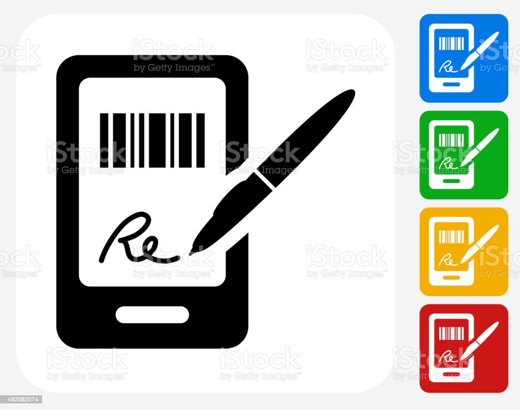 Signing for Purchase Icon Flat Graphic Design vector art illustration