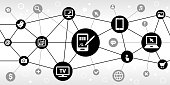 Signing for Purchase Internet Communication Technology Triangular Node Pattern Background. the main icon is in the center of this illustration on a black circle, it is connected to other black circles with technology and modern communication icons on them. The black circles form a triangular node pattern and are connected by thin black lines. the background of the illustration is white. The individual icons include various technology related images such as computers, cell phone, tv set and many more.