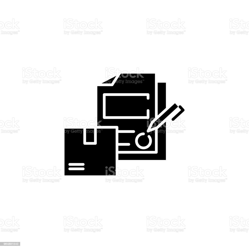 Signing logistics contract black icon concept. Signing logistics contract flat  vector symbol, sign, illustration. royalty-free signing logistics contract black icon concept signing logistics contract flat vector symbol sign illustration stock vector art & more images of no people
