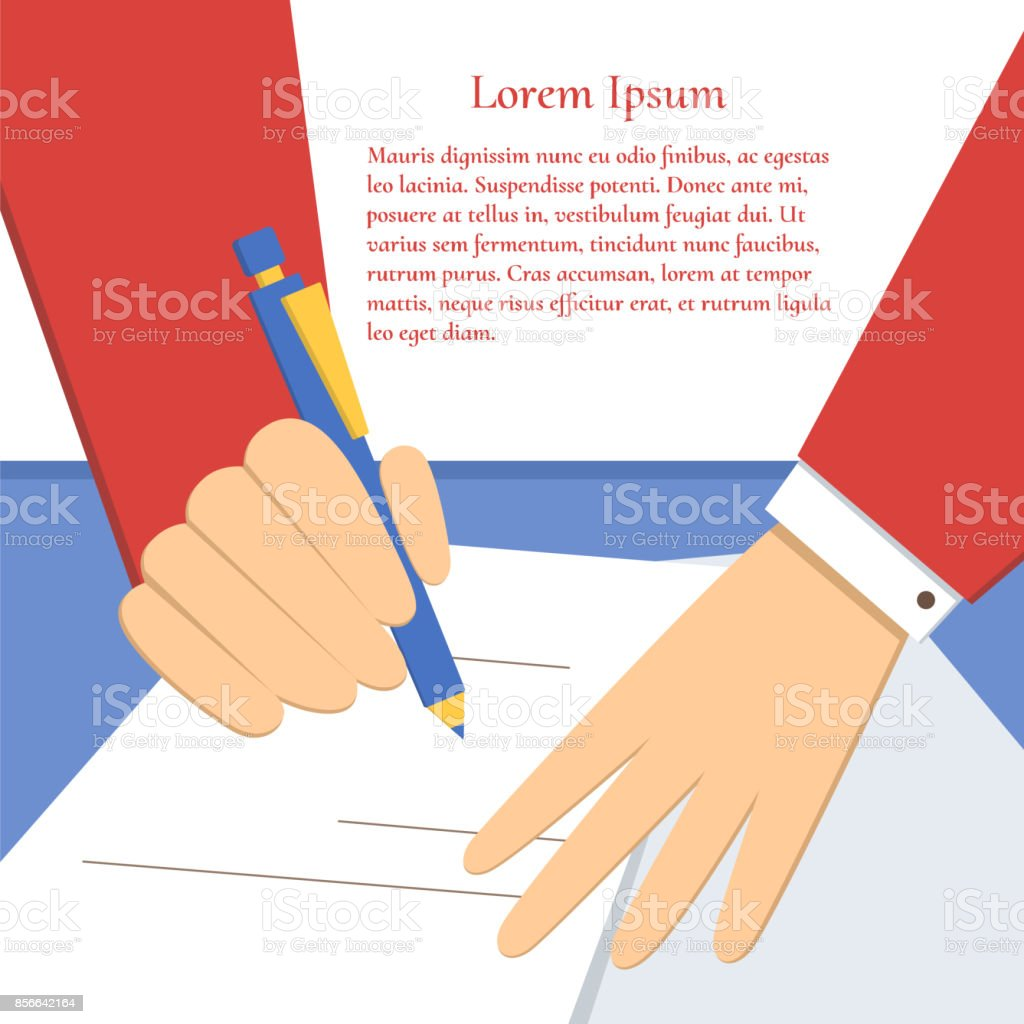 Signing of an agreement vector art illustration