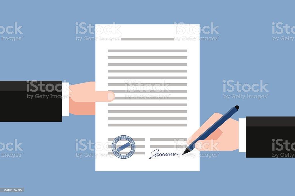 Unterzeichnung Businessvertrag Vektor Illustration 540215786 | iStock