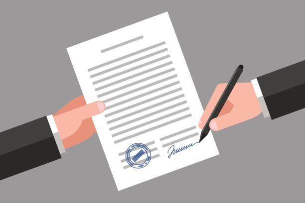 unterzeichnung des geschäftsdokument - unterschreiben stock-grafiken, -clipart, -cartoons und -symbole