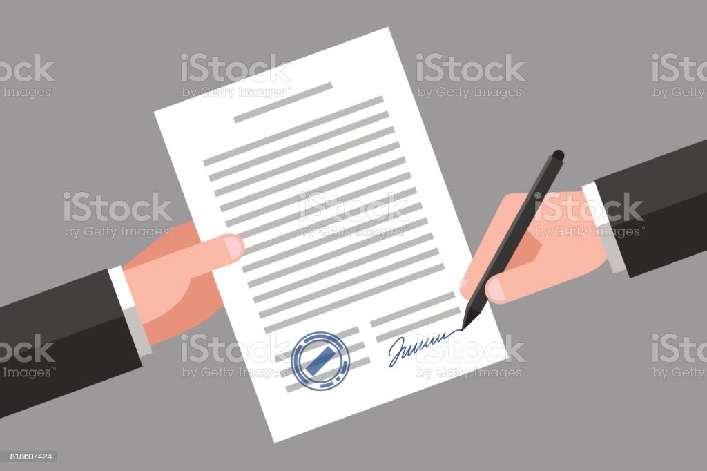 Signing of business document vector art illustration